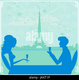Junges Paar flirten und trinken Champagner in Paris - Stockfoto