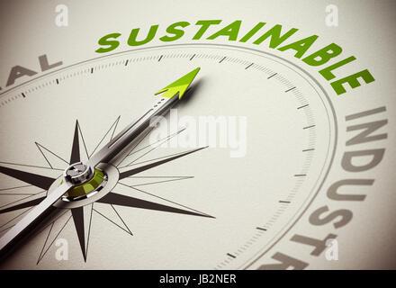 Die Kompassnadel zeigt nachhaltige Text. Grüne und braune Töne mit Blur-Effekt und konzentrieren sich auf das wichtigste - Stockfoto