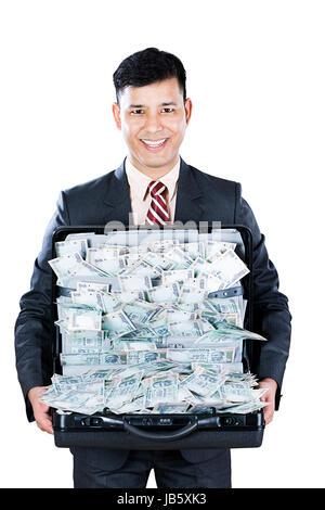 1 Geschäftsmann Holding Aktenkoffer angezeigt Indische Rupien Währung Fülle Cash Lotterie Geld Förderung - Stockfoto