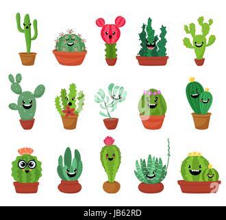 Große Reihe von niedlichen Cartoon Kakteen und Sukkulenten mit lustigen Gesichtern. Niedlichen Aufklebern oder Patches - Stockfoto