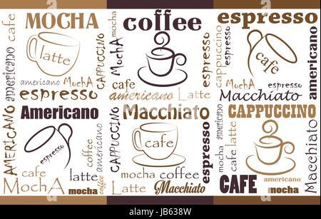 Kaffee Hintergrund verschiedene Mischungen und Typen. Nahtlose ...