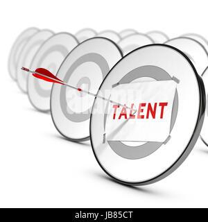 Ein Pfeil auf die Mitte des grauen Ziel. Ein Blatt Papier mit dem Wort Talente ist darauf fixiert. Viele andere - Stockfoto