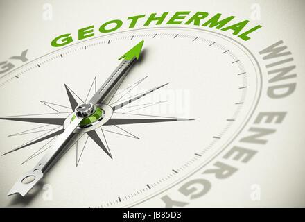 Kompass mit Nadel zeigt den Text Geothermie - grüne und erneuerbare Energien Konzept Unschärfe-Effekt mit Fokus - Stockfoto