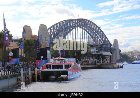 Kreuzfahrtschiff vor Anker im Hafen von Sydney Sydney Australia. - Stockfoto