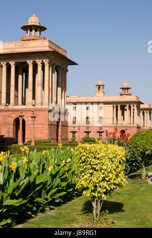 Indische Regierung Gebäude an der Spitze von Raj Path, New Delhi, Indien. Erbaut ca. 1931 AD während der britischen - Stockfoto