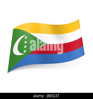Flagge Der Komoren Gelb Weiß Rot Und Blau Querstreifen