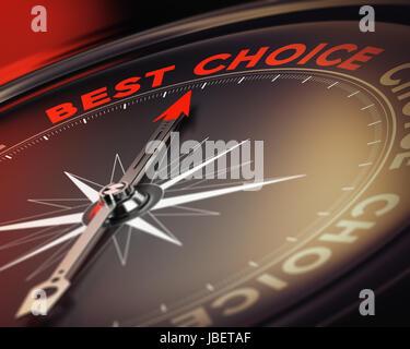 Kompass mit Nadel zeigt den Text beste Wahl, roten und schwarzen Tönen. geeignet für Entscheidungsfindung Abbildung - Stockfoto