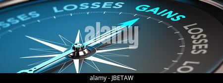 Konzeptionelle 3D Render Bild mit Blur-Effekt, Kompass mit Nadel Poointing das Wort Gewinne. Darstellung der finanzielle - Stockfoto