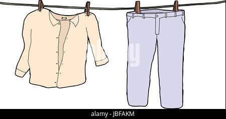 Kinderkleidung auf wäscheleine  Nassen Hemd auf der Wäscheleine Stockfoto, Bild: 53010754 - Alamy