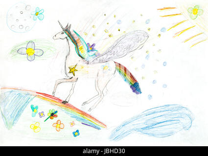 Kinder Zeichnung Fee Einhorn Auf Rainbow Von Trockenen Pastell