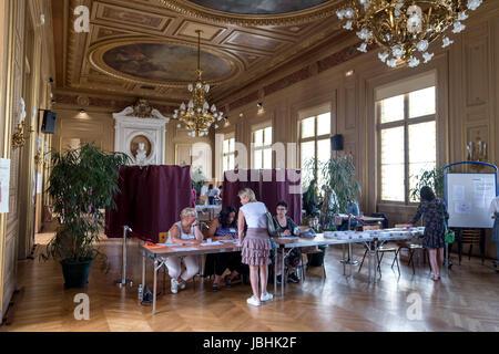 Paris, Frankreich. 11. Juni 2017. Die erste Runde der Parlamentswahlen - 11/06/2017 - Frankreich/Paris - Darstellung - Stockfoto