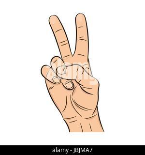Realistische hand mit zwei Fingern angehoben. Sieg Zeichen auf weißem Hintergrund isoliert. Frieden Geste Symbol. - Stockfoto