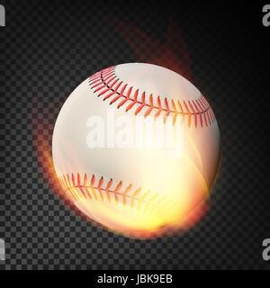 Flammende realistische Baseball Ball auf Feuer durch die Luft fliegen. Brennende Kugel - Stockfoto