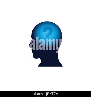 Kopf mit Fragezeichen im Gehirn, Brainstorming denken Intelligenz Konzept Symbol - Stockfoto