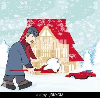 Mann, Schneeschaufeln - Stockfoto