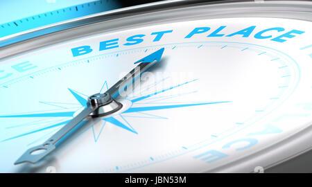 Kompass mit Nadel zeigt den Wort besten Ort. Konzeptionelle 3D-Render Bild mit Schärfentiefe-Unschärfeeffekt zur - Stockfoto