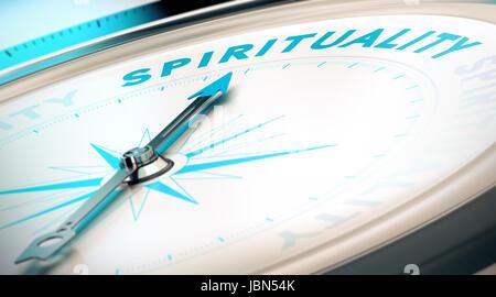 Kompass mit Nadel zeigt das Wort Spiritualität. Konzeptionelle 3D-Render Bild mit Schärfentiefe-Unschärfeeffekt - Stockfoto