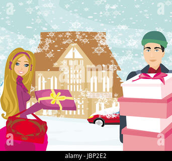 Weihnachts-shopping an einem verschneiten Tag - Stockfoto