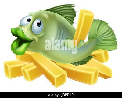 Eine Karikatur von einem Fish & Chips, Meeresfrüchte-Konzept - Stockfoto