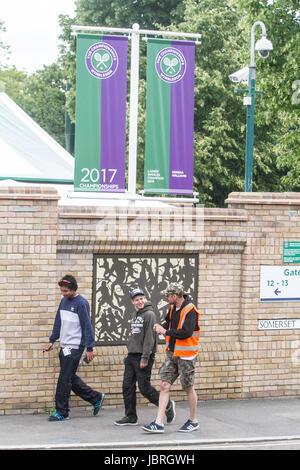 London UK. 12. Juni 2017. Mit 3 Wochen bis zum Beginn des 2017 Wimbledon Tennis Championships, eine Ehrentafel erscheint - Stockfoto