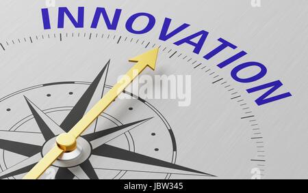 Kompassnadel auf das Wort Innovation - Stockfoto