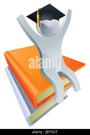 Eine Abbildung einer silbernen Person auf einem Stapel Bücher tragen eine Stufe Doktorhut - Stockfoto
