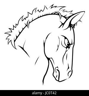 Eine Schwarz Weiß Darstellung Eine Heftige Pferd Tier Charakter