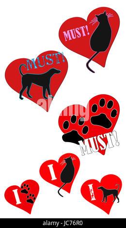Fun-Clip Art Illustrationen müssen Liebe Tiere und ich liebe Tiere-Konzept. - Stockfoto