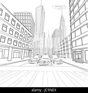 London New York Gebäude Empire State Chrysler Building Landschaft Stadtbild Taxi Autos Stadtauto Straße. Vektor - Stockfoto