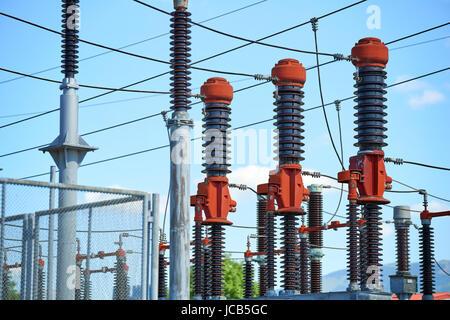 Electric power station - Details der Hochspannung Trafo in der Unterstation - Stockfoto