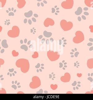 Nahtlose Muster mit Herzen und Pfotenabdrücke von Tieren - Stockfoto
