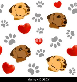 Nahtlose Muster mit Haustieren und Herzen. Ich liebe Hunde - Stockfoto
