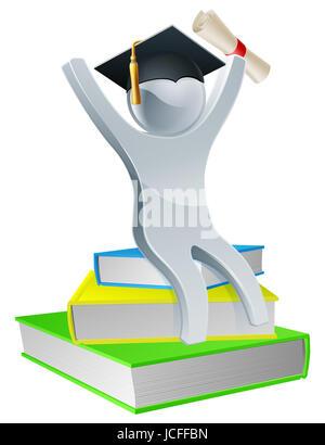 Graduierung Person auf Bücher halten Diplom Scroll und tragen Doktorhut, Bildungskonzept - Stockfoto