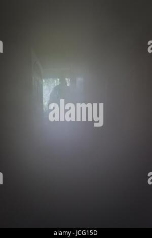 Feuerwehrmann Atemschutzgerät Betreten eines verrauchten Raumes in einem inländischen Haus tragen. - Stockfoto