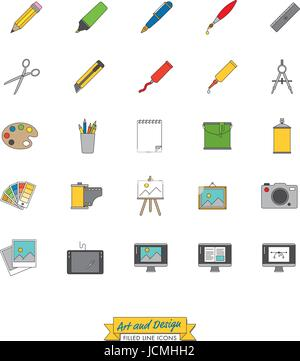 Sammlung von Kunst, Design und Publishing Symbole, gefüllte Symbol Linienart Stockfoto