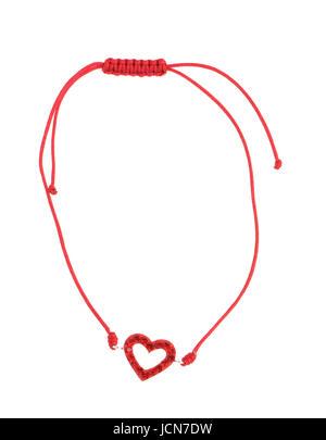 Roter String Armband isoliert auf weißem Hintergrund - Stockfoto