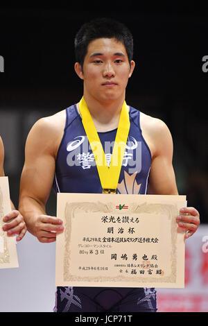 Nd Yoyogi Gymnasium, Tokio, Japan. 16. Juni 2017. 。 Yuya Okajima, 16. Juni 2017 - Wrestling: Meiji Cup alle Japan - Stockfoto