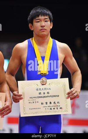 Nd Yoyogi Gymnasium, Tokio, Japan. 16. Juni 2017. セェー Taise Matsuyuki, 16. Juni 2017 - Wrestling: Meiji Cup alle - Stockfoto