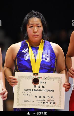 Nd Yoyogi Gymnasium, Tokio, Japan. 16. Juni 2017. ソィィ Rino Abe, 16. Juni 2017 - Wrestling: Meiji Cup alle Japan - Stockfoto