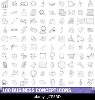 100 Business Konzept Icons Sets, Umriss-Stil - Stockfoto