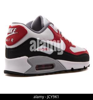 sale retailer 41fc0 26b83 Nike Air Max 90 Mesh (GS) weißen, roten und schwarzen Jugend der Laufschuhe