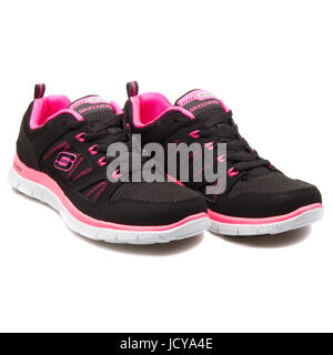 Skechers Flex Appeal Spring Fever Black and Hot Pink Women's