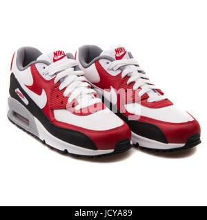 online retailer 626f4 65b2b ... Nike Air Max 90 Mesh (GS) weißen, roten und schwarzen Jugend der  Laufschuhe