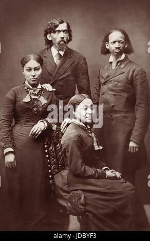 Ex-Sklave Thomas Lewis Johnson (r) (1836-1921) und Calvin H. Richardson (l), zusammen mit ihren Ehefrauen waren - Stockfoto