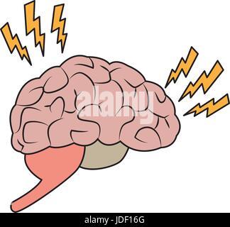 Zeichnung Gehirn menschlichen Schmerz krankes organ - Stockfoto