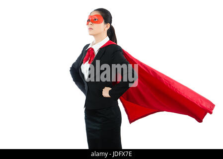 Vertrauen Erfolg Mischlinge asiatischen weiblichen Superhelden Anwalt sparen die Familie Frage Hände über die Taille - Stockfoto