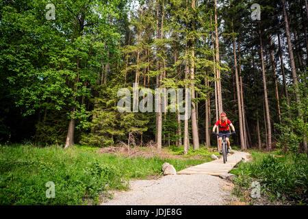 Mountainbiker im Frühjahr inspirierende grüne Waldlandschaft auf Fahrrad Reiten. Mann Radsport MTB Enduro Trail - Stockfoto