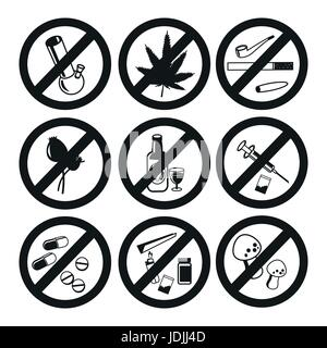 Keine Drogen Icons Set, Marihuana Drogen, sucht und Kapsel, Rauchrohr, Tablet-Apotheke, Vektor-illustration - Stockfoto