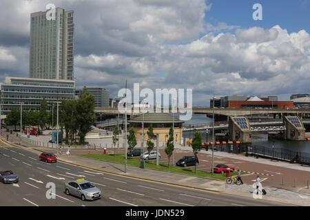 Donegall Kai, Fluss Lagan, Belfast, Nordirland. - Stockfoto