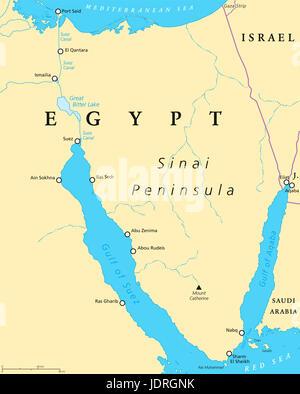 Ägypten, Sinai-Halbinsel politische Karte. Zwischen Mittelmeer und am Roten Meer gelegen. Landbrücke zwischen Asien - Stockfoto